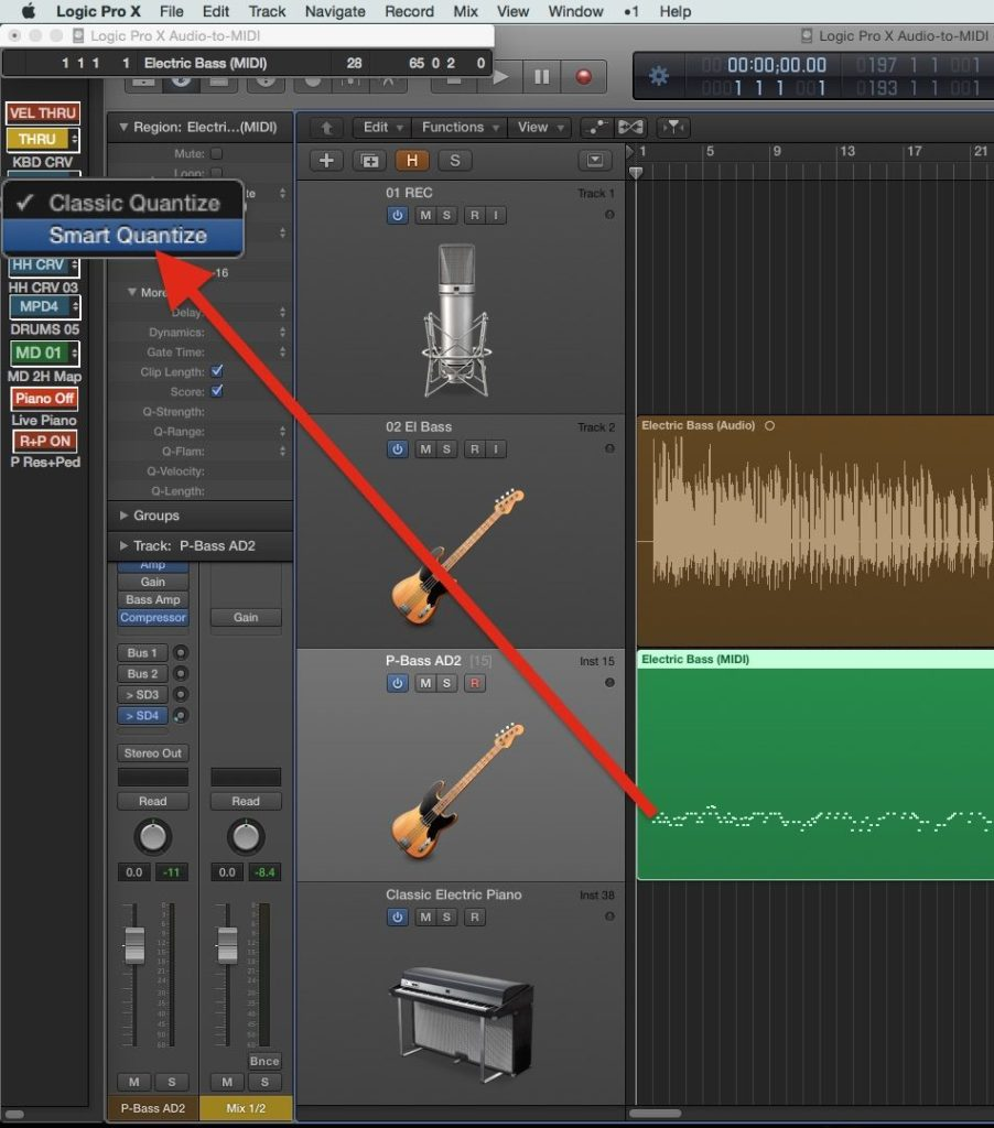 Audio-to-MIDI в Logic Pro X