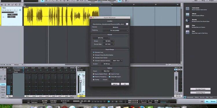 Экспорт аудио из DAW