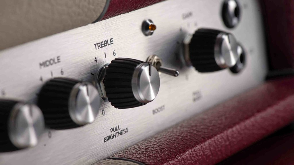 Detail of the control panel on a Marshall Astoria Custom amplifier head, taken on September 14, 2015. (Photo by Joby Sessions/Guitarist Magazine)