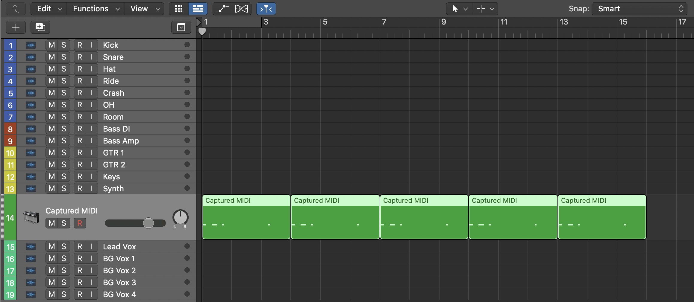 Logic Pro разделение лупа на отдельные части