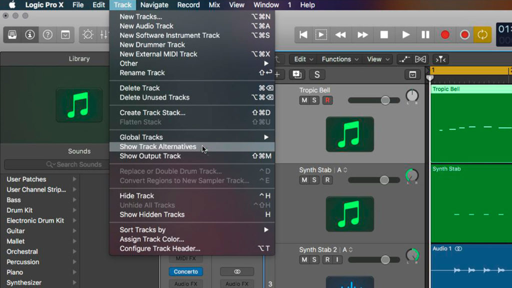 Track Alternatives в Logic Pro X