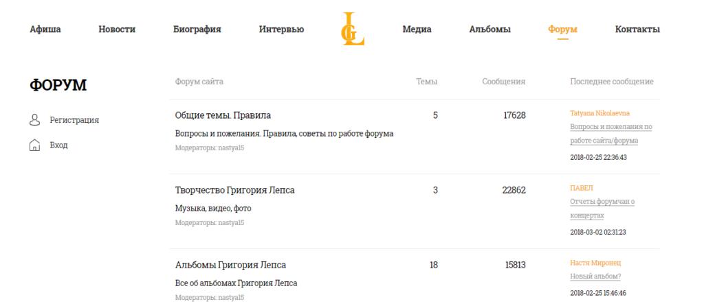 Пример форума на сайте звезды эстрады.