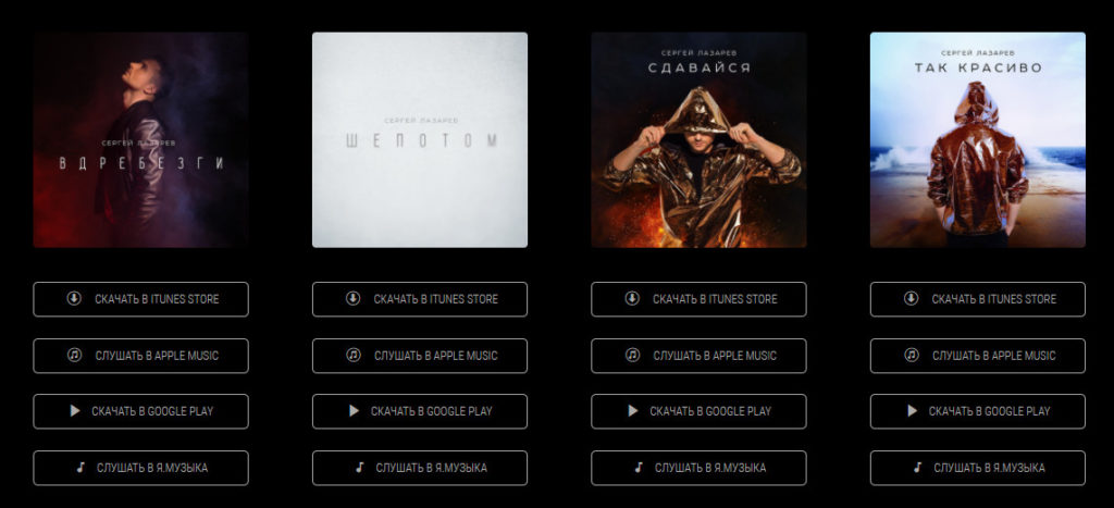 Даже топовые музыканты на сайтах продают музыку через Google Play и iTunes.