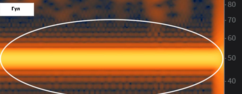 реставрация аудио, гул на спектрограмме