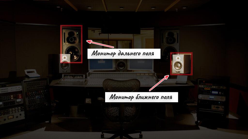 Мониторы дальнего и ближнего поля в студии звукозаписи