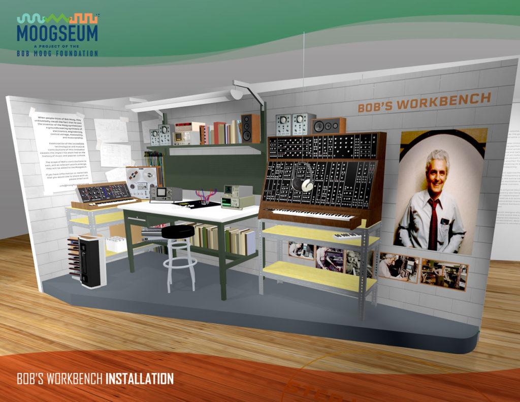 Стенд с рабочим местом Боба Муга в музее Moogseum