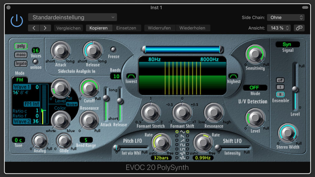 вокодер Apple Logic Pro X EVOC-20 Vocoder