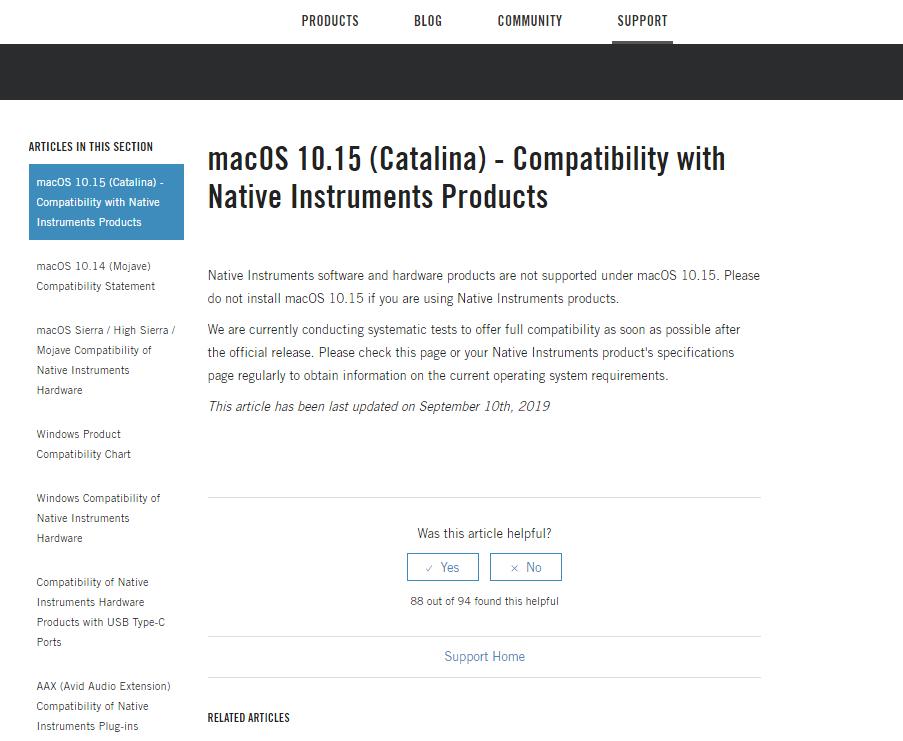 совместимость macos catalina с продуктами native instruments
