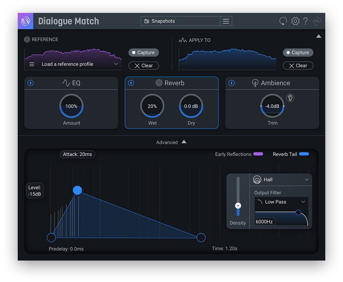 iZotope Dialogue Match Reverb