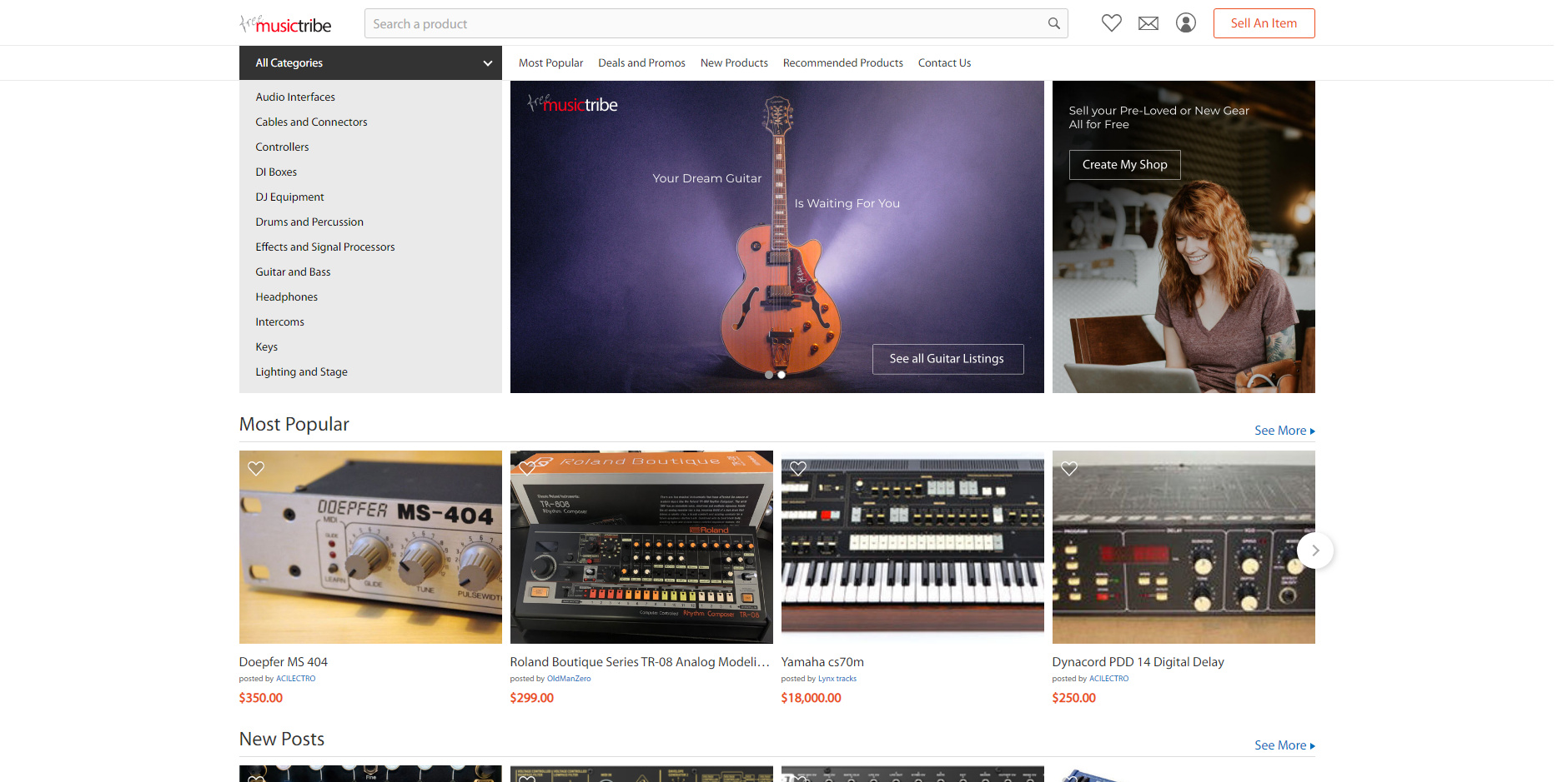 Маркетплейс Free Music Tribe от Behringer для продажи старого оборудования