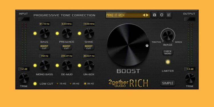 Инструмент мастеринга 2getheraudio Rich распространяется помодели «заплати сколько хочешь»