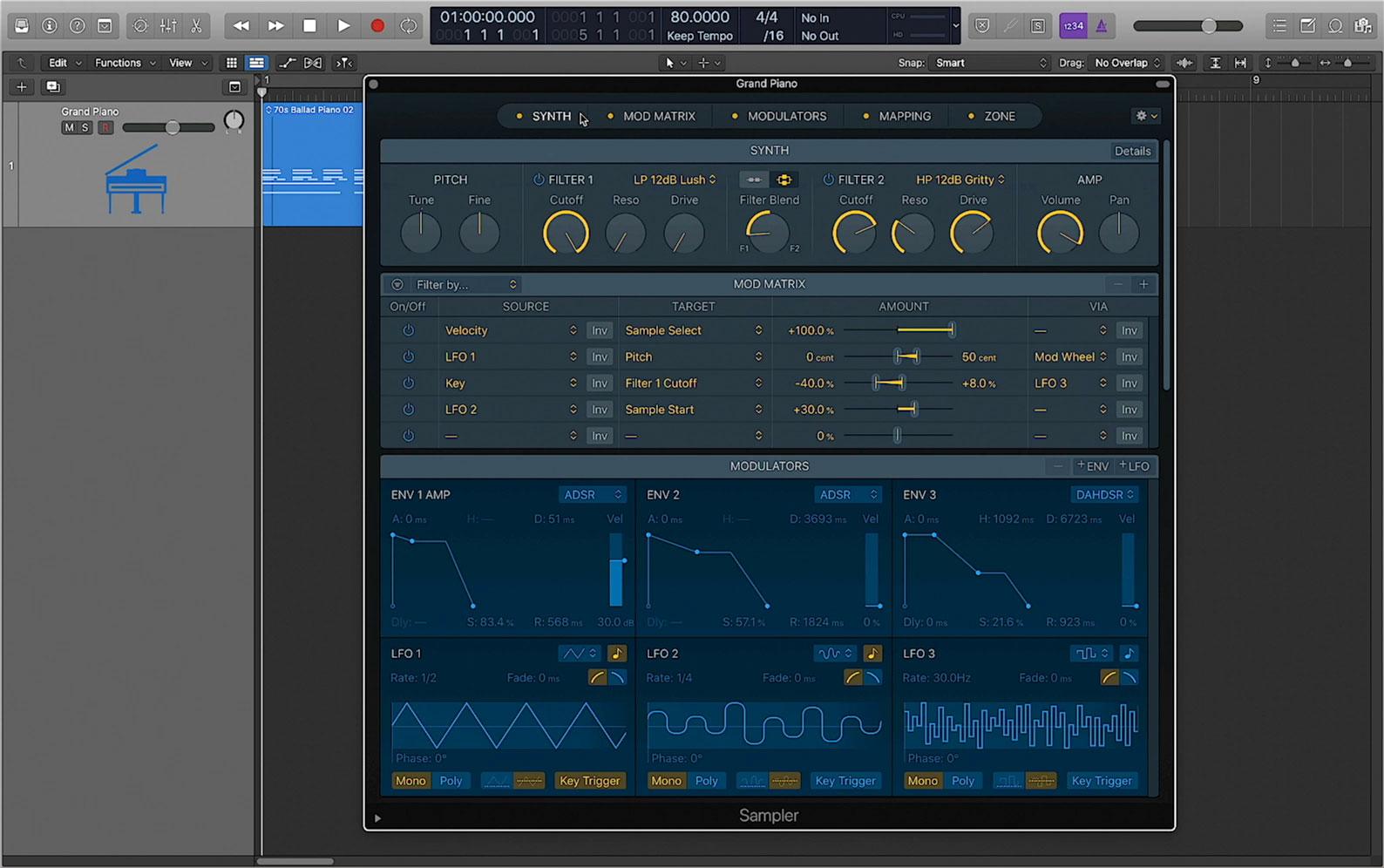 Сэмплер Logic Pro X 10.5 Sampler