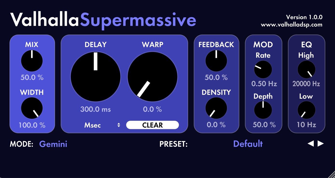 Бесплатный VST-ревербератор ValhallaDSP Valhalla Supermassive