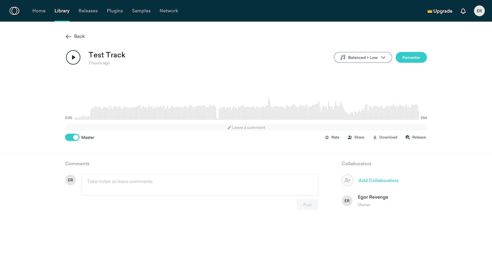 Cервисы онлайн-мастеринга музыки LANDR и информация о треке