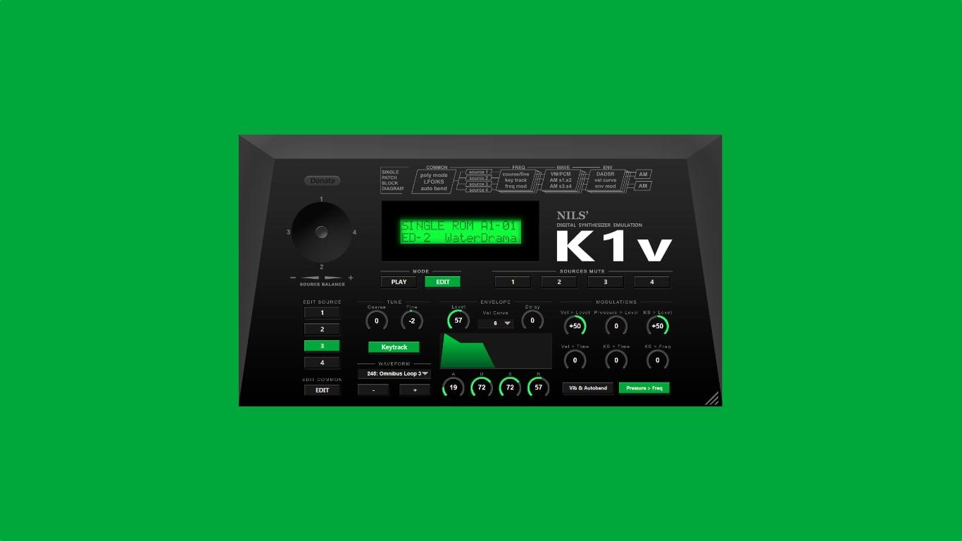 Nils Schneider K1v представляет собой бесплатную версию винтажного синтезатора Kawai K1