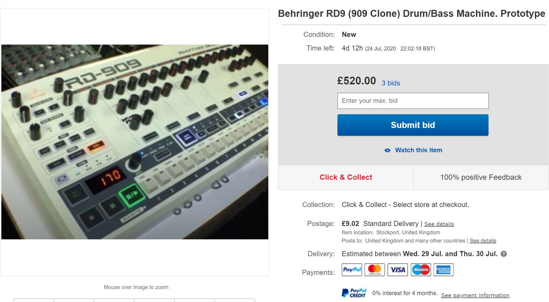 На eBay продали поддельный прототип Behringer RD-9— клона Roland TR-909
