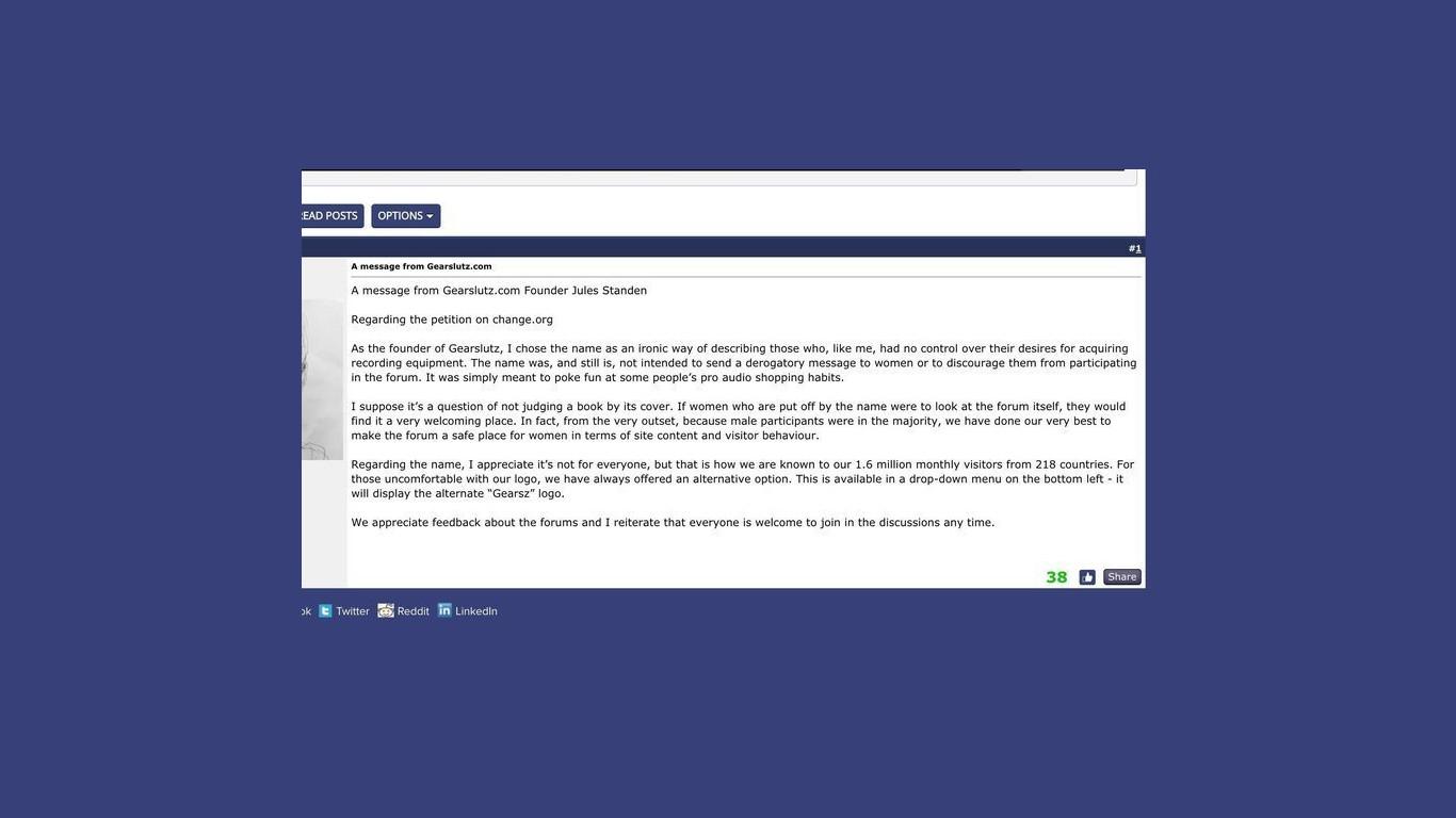 Gearslutz ответ основателя сайта на обвинения