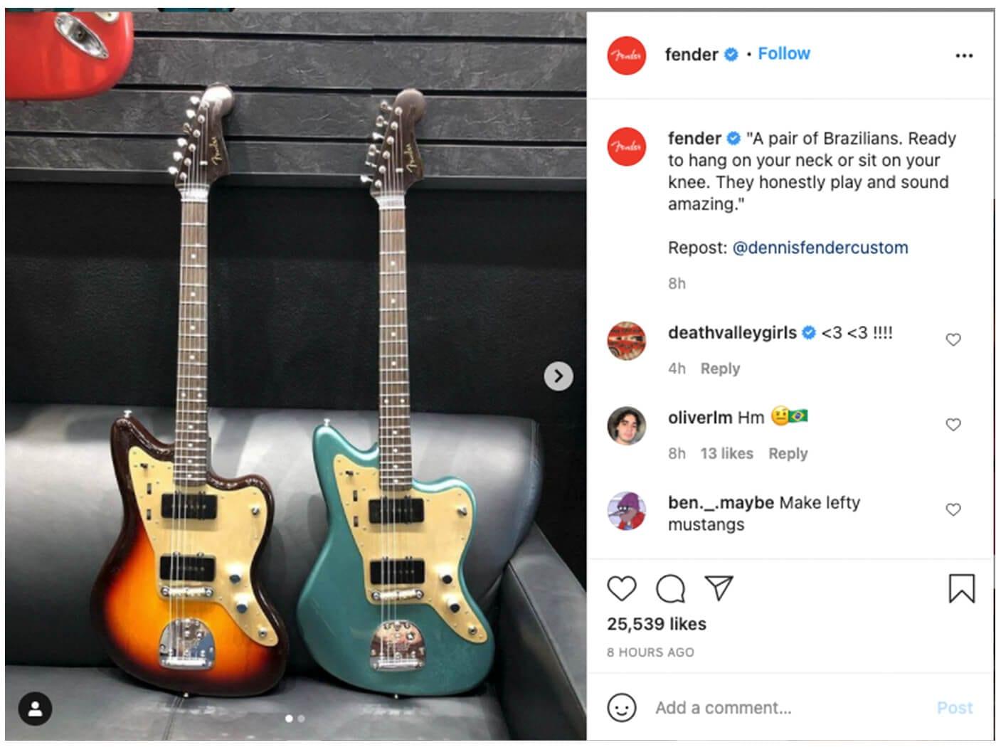 Пост Fender оскорбивший подписчиков