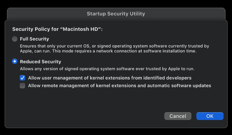 Политика безопасности Сниженный уровень безопасности macOS