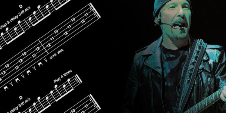 Гитарное упражнение от Эджа из U2 на игру с дилэем