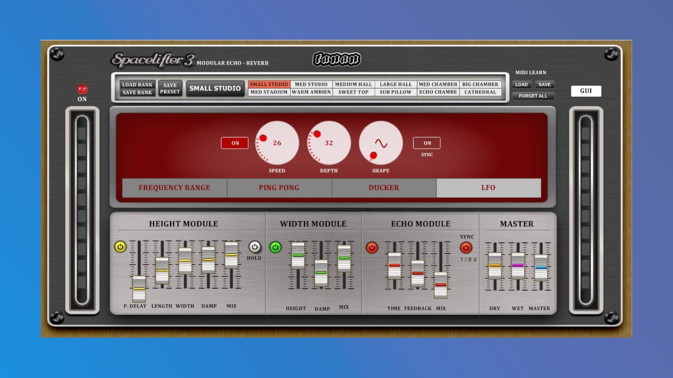 Fanan Spacelifter 3— бесплатный плагин реверберации для Windows сбольшим количеством настроек