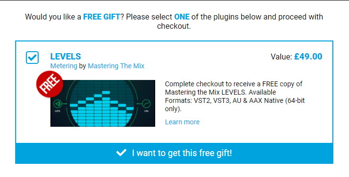 Mastering The Mix LEVELS Free Gift Plugin Boutique April 2021