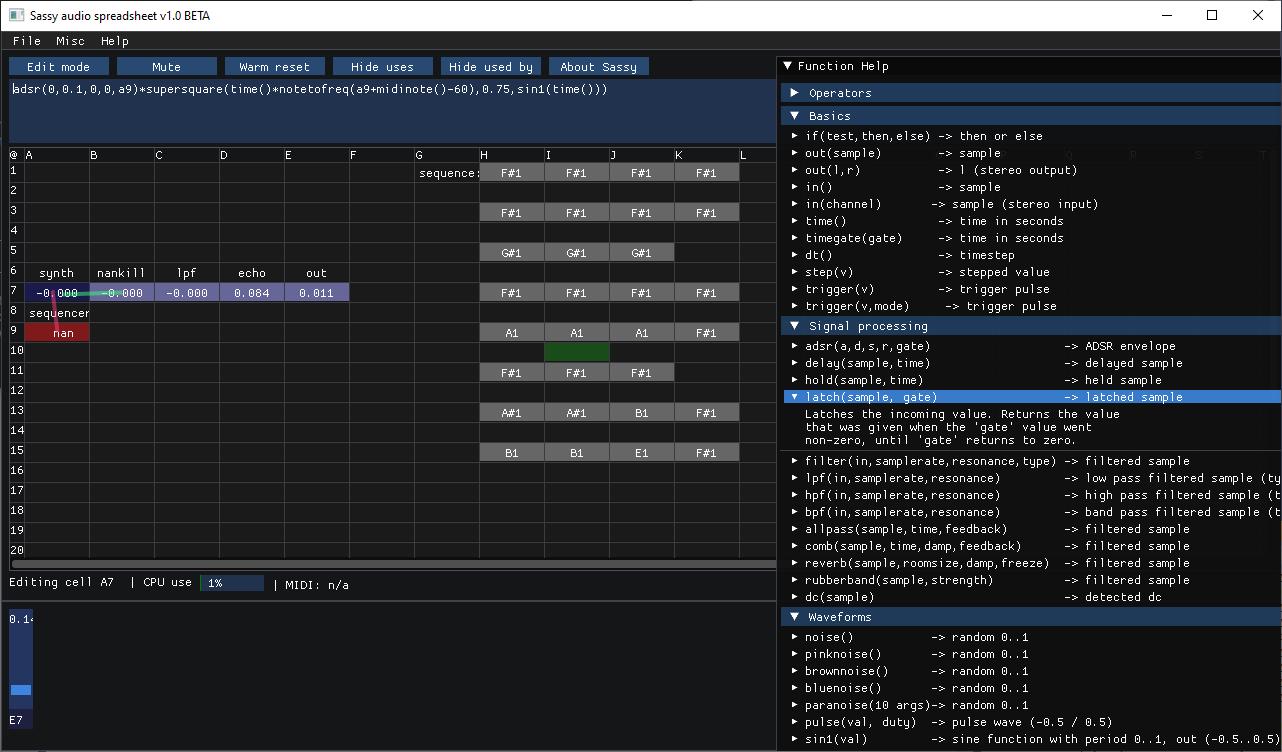 Sassy Audio Spreadsheet Synth