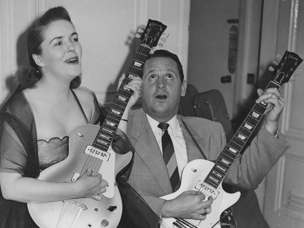 Лес Пол и Мэри Форд на презентации Gibson Les Paul