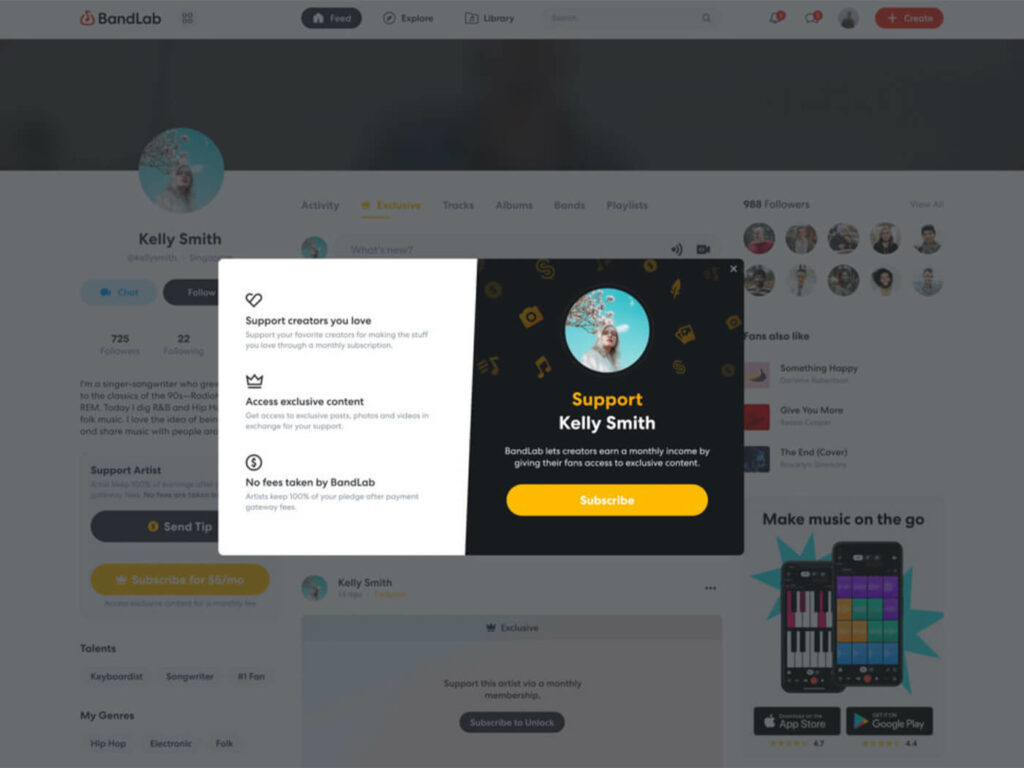 BandLab Subscriptions - сервис поддержки и подписки на исполнителей