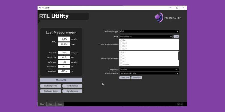 RTL Utility— бесплатная программа для измерения латенсии
